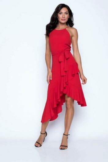 Frank Lyman Ruffled Halter Dress in Red