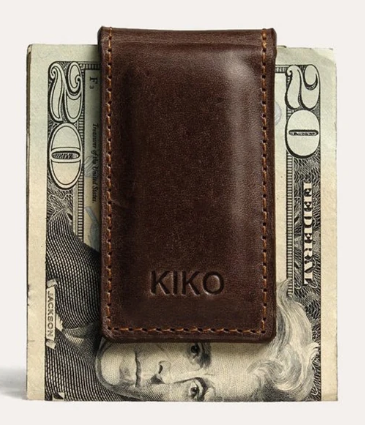 Kiko Magnetic Leather Money Clip in Brown