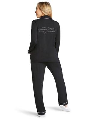 LA Trading Company Private Jet Pajama Set In Black