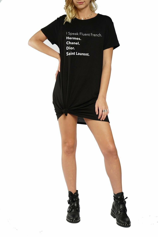 LA Trading Company Fluent French T-Shirt Dress In Black