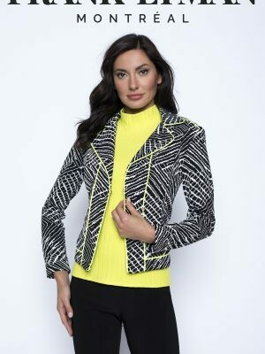 Frank Lyman Knit Jacket with Green Piping in Black and White