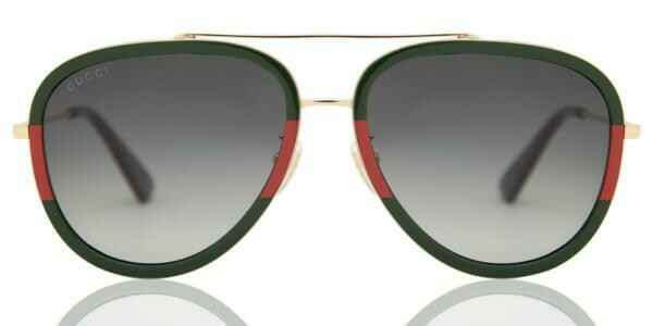 Gucci Sunglass Woman Metal With Green and Red Lens Outline