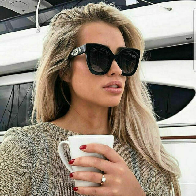 Gucci Sunglass Woman Acetate In Black With Grey Lenses