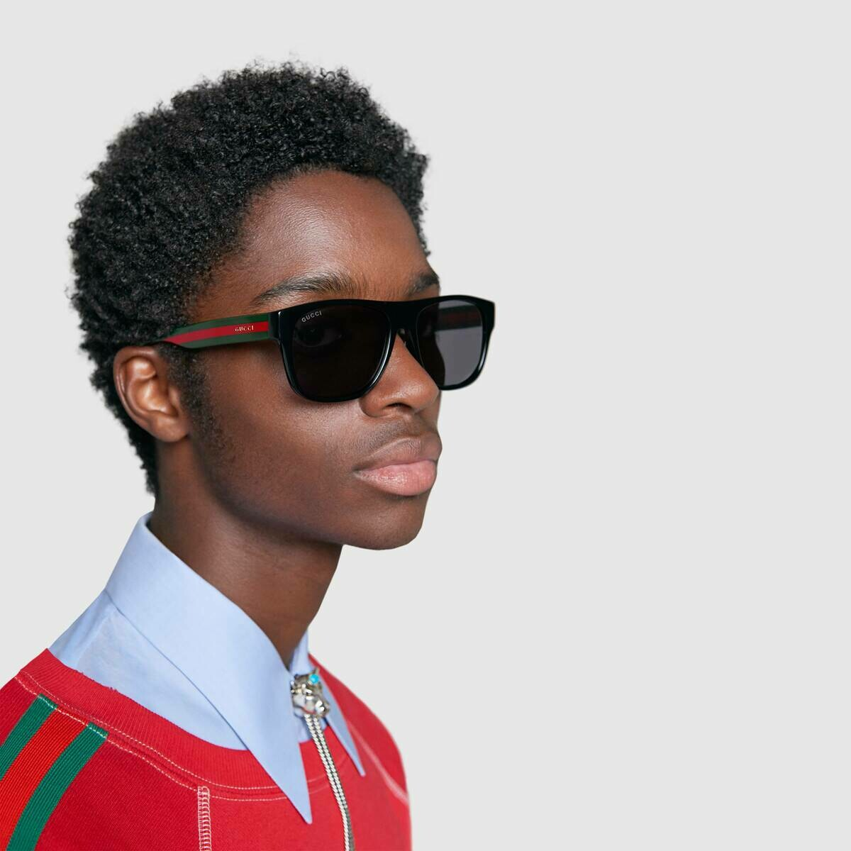 Gucci Sunglass Man Acetate With Green and Red Web Temples