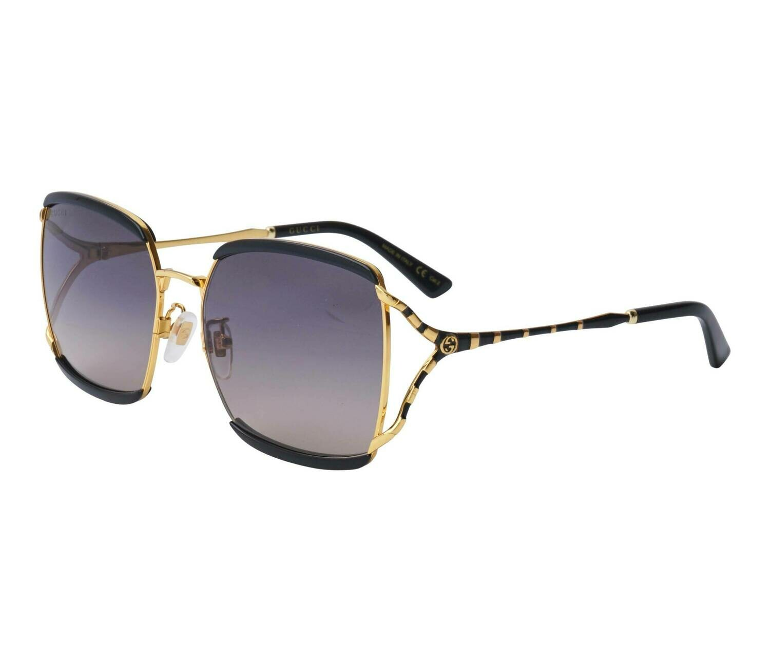 Gucci Sunglass Woman Injection In Black and Gold With Purple Lenses