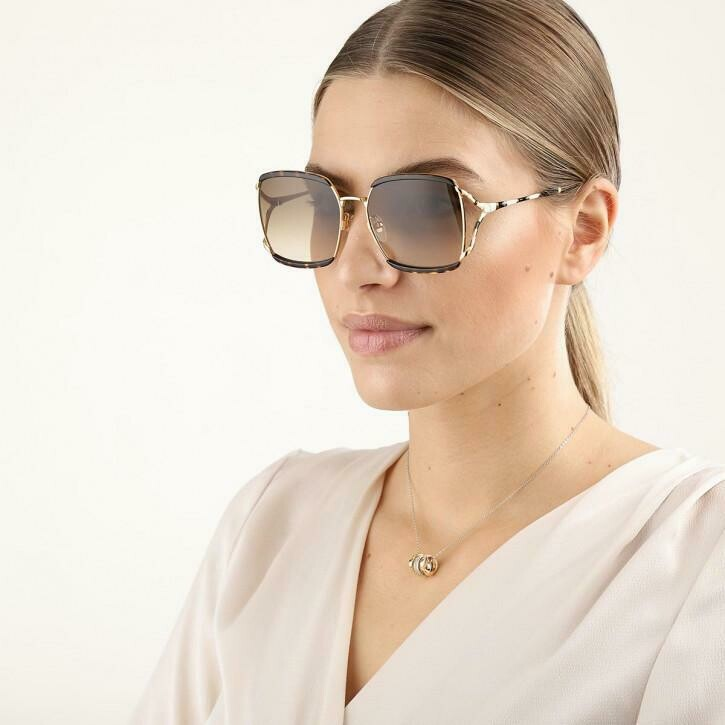 Gucci Sunglass Woman Injection In Havana Brown and Gold With Brown Lenses