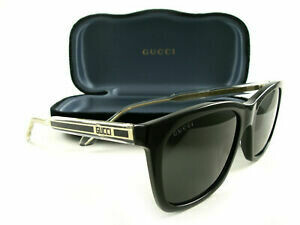 Gucci Sunglass Man Acetate In Black and Gold With Black Lenses