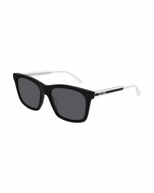 Gucci Sunglass Man Acetate In Black and Silver with Grey Lenses