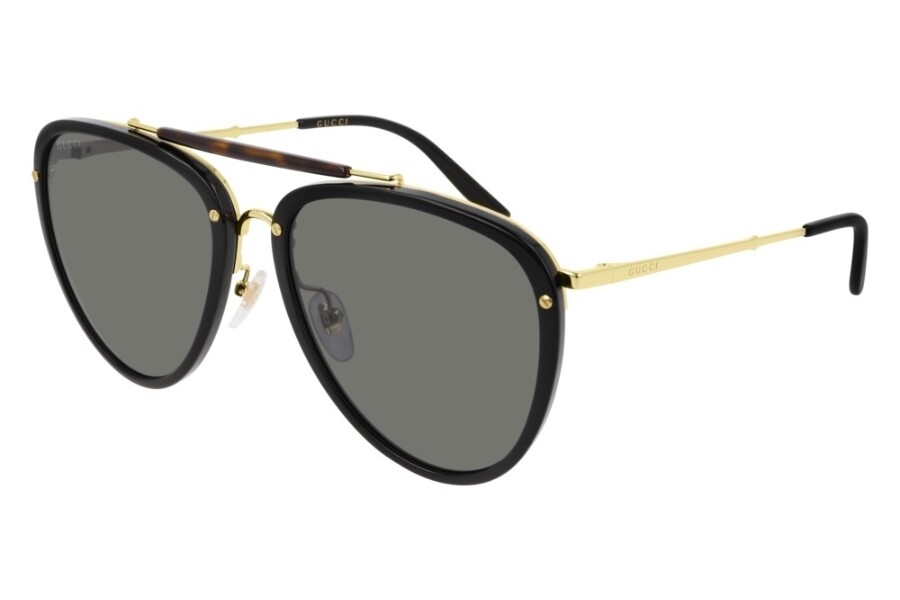 Gucci Sunglass Man Acetate In Black and Gold With Grey Lenses