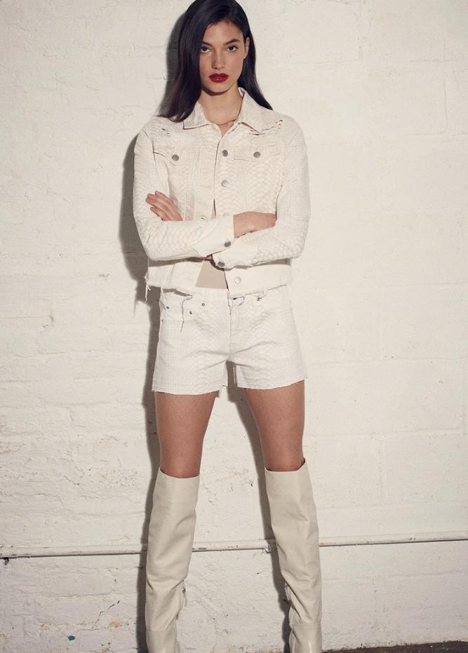 Blue Revival Mila Snake Short in White