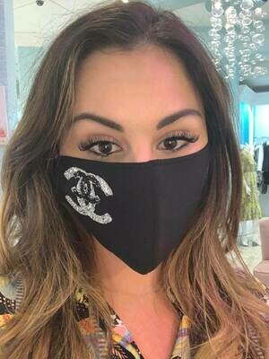 Jackie Z Glitter Mask Interlocking Double CC In Black and Silver