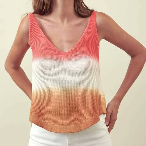 Storia Tie Dye V Neck Knit Sleeveless Top In Pink And Orange