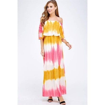Caramela Off The Shoulder Printed Maxi Dress In Pink and Yellow