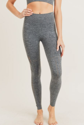 Mono B Striped and Perforated Seamless High-waist Leggings In Black