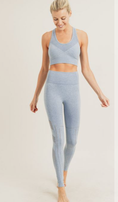 Mono B Striped and Perforated Seamless High-waist Leggings In Blue