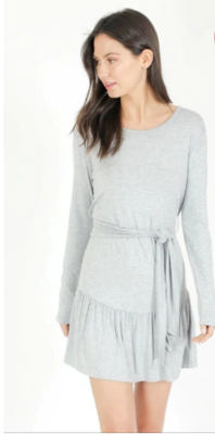 Six Fifty Long Sleeve Belted Dress in Heather Grey