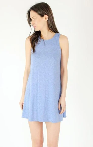 Six Fifty Racer Dress in Aqua Chambray