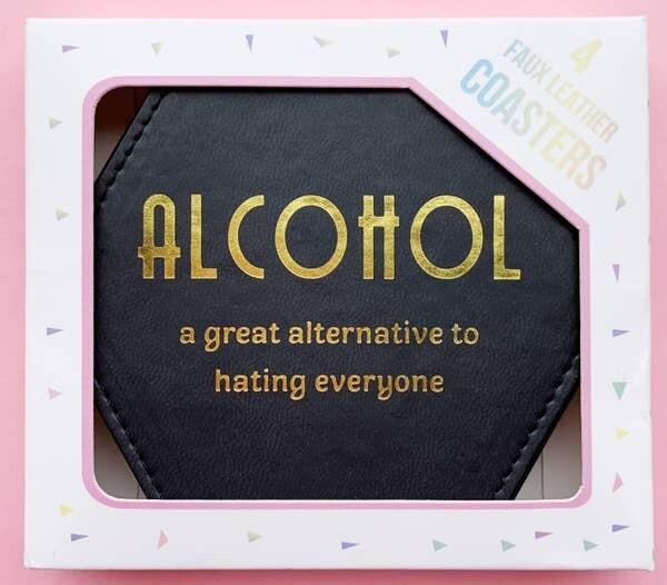 Fun Club Alcohol Coasters in Black