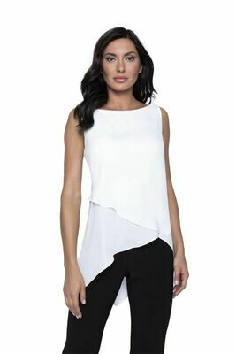 Frank Lyman Sleeveless Tiered Tunic in Off-White