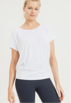 Mono B Athleisure Flow Shirt With Cutout Draped Back in White