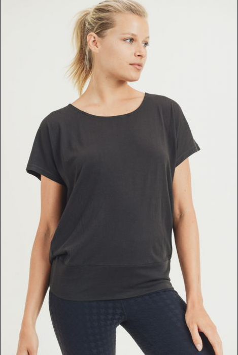 Mono B Athleisure Flow Shirt With Cutout Draped Back in Black