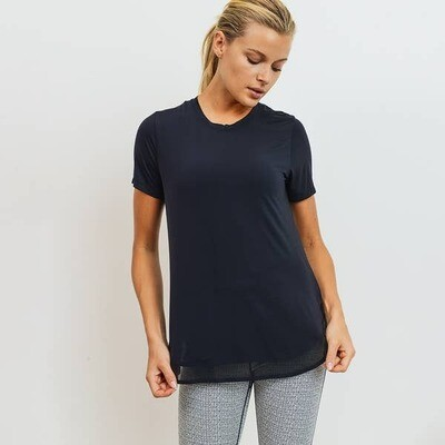 Mono B Cool Touch Mesh Panel Athleisure Shirt in Black