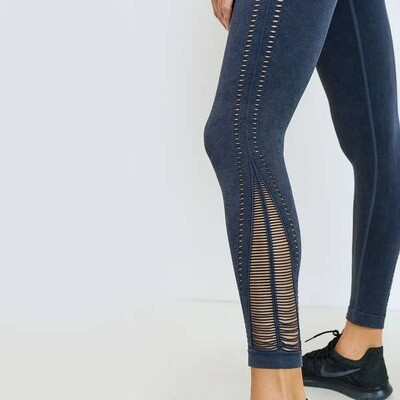Mono B Threaded & Perforated Mineral Wash Seamless Legging in Grey