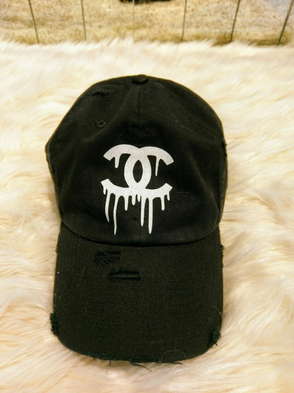 Designer CC Dripping Baseball Hat in Black