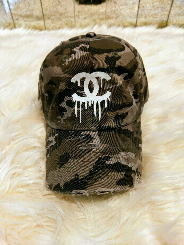 Designer CC Dripping Baseball Hat in Grey Camouflage