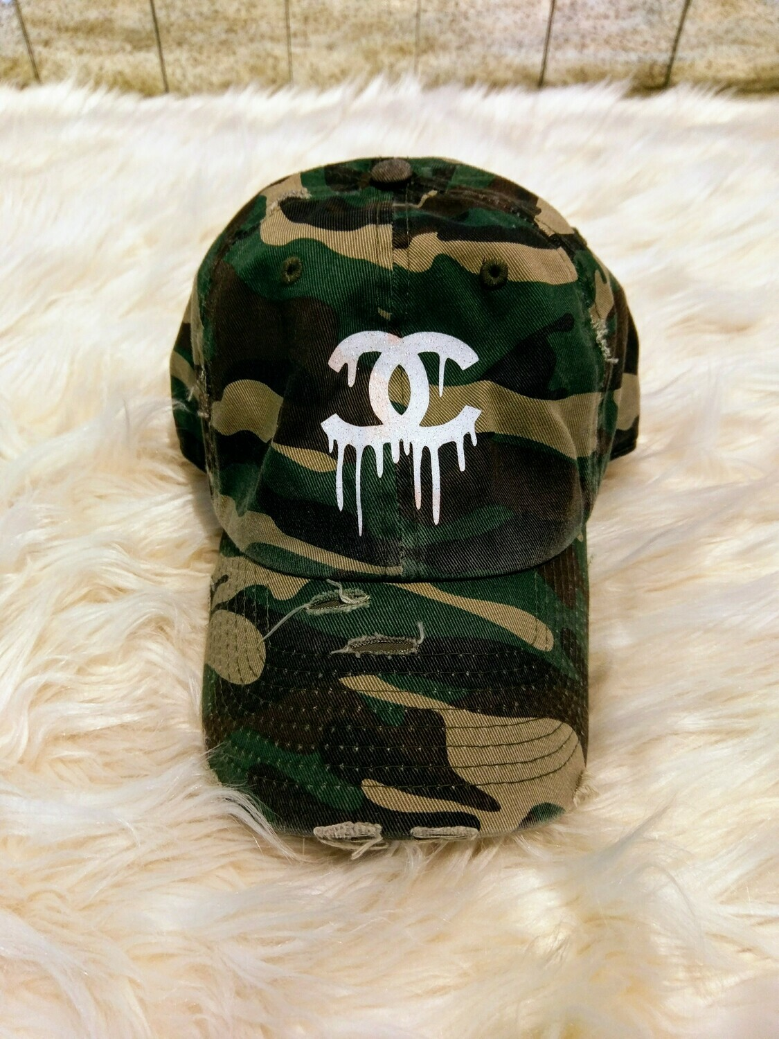 Designer CC Dripping Baseball Hat in Green Camouflage