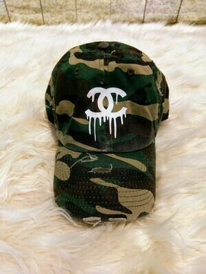 Designer CC Dripping Baseball Hat in Green Camouflage