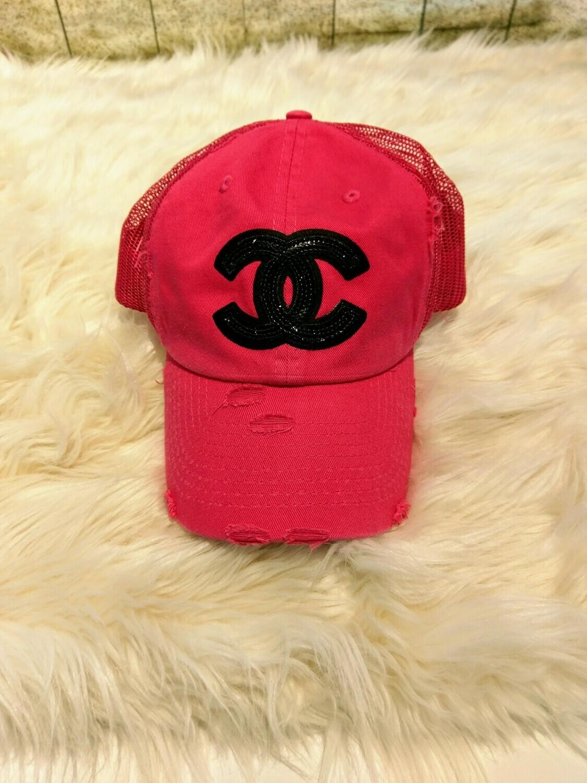 Designer Black Sequin CC Baseball Hat in Pink
