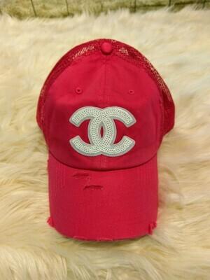 Designer White Sequin CC Baseball Hat in Pink