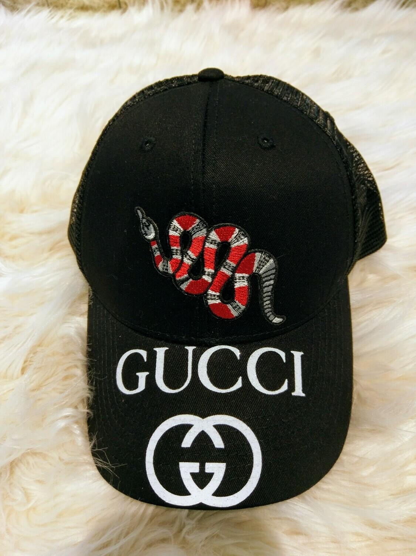 Designer GG Baseball Hat  With Snake in Black