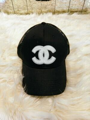 Designer White Sequin CC Baseball Hat in Black