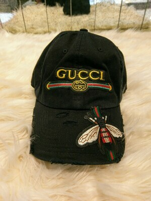 Designer GG Baseball Hat With Bumble Bee in Black