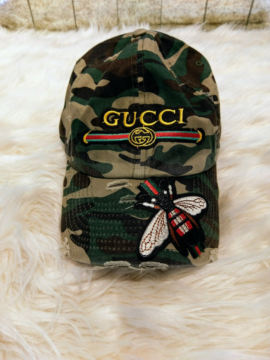 Designer GG Baseball Hat With Bumble Bee in Green Camouflage