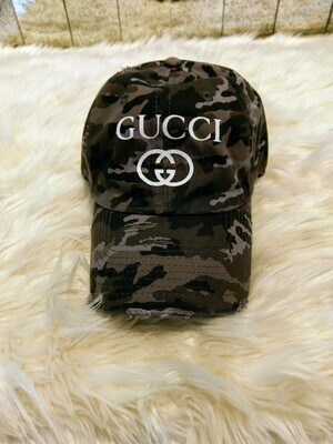 Designer GG Baseball Hat in Grey Camouflage