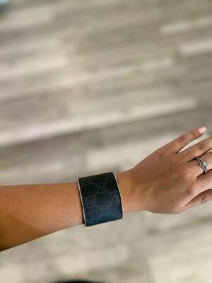 Designer GG Black and Grey Cuff Bracelet