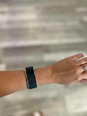 Designer GG Black and Grey Silver Small Cuff Bracelet