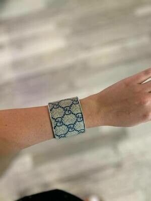 Designer GG Navy and Grey Cuff Bracelet