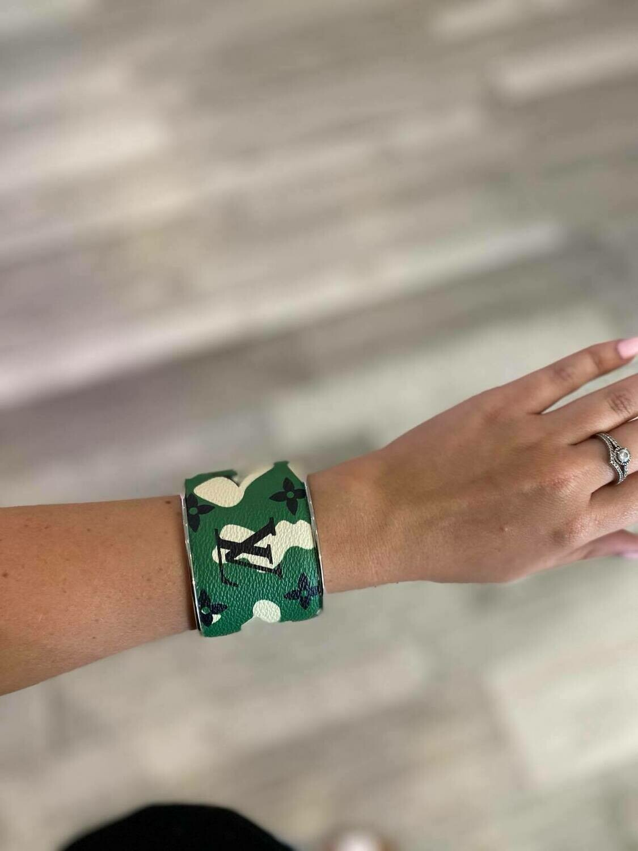 Designer LV Green Camoflague Cuff Bracelet
