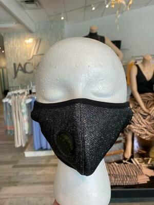 Black and Silver Glitter Fashion Face Mask