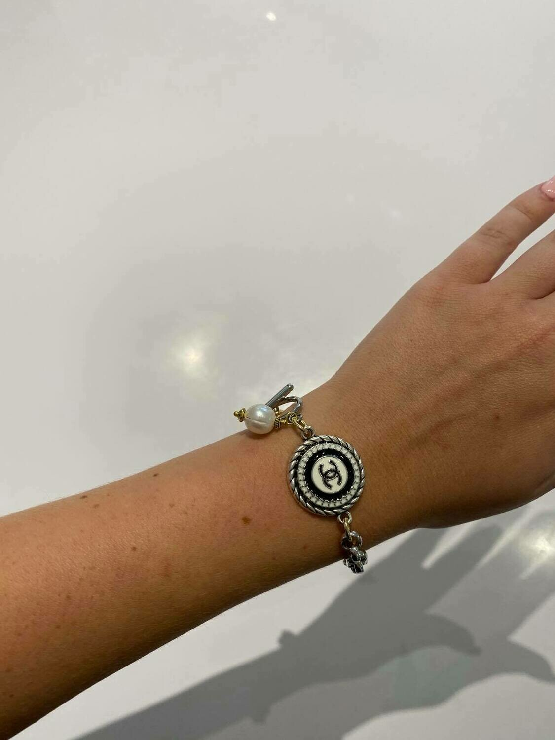 Vintage Chanel Button Bracelet In Gold With Black And White Button