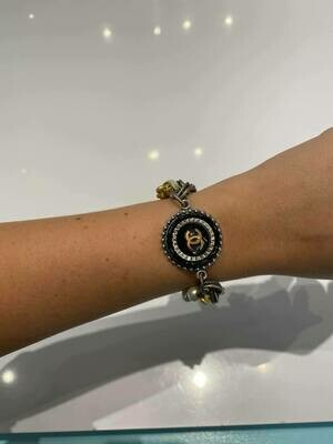 Vintage Chanel Button Multi-Strand Bracelet In Gold And Silver With Black And Silver Button