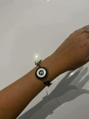 Vintage Chanel Button Bracelet In Silver With Black And White Button