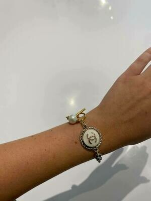 Vintage Chanel Button Bracelet In Silver With White And Gold Button