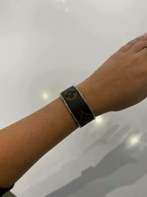 Designer LV Brown And Tan Silver Small Cuff Bracelet