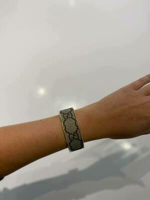 Designer GG Beige and Brown in Silver Small Cuff Bracelet