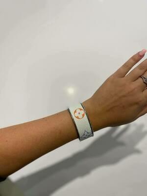 Designer LV Multi Colored Logo White Silver Small Cuff Bracelet